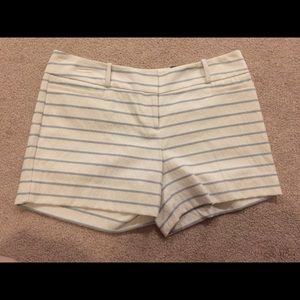 NWT The Limited Cream and Blue Striped Shorts